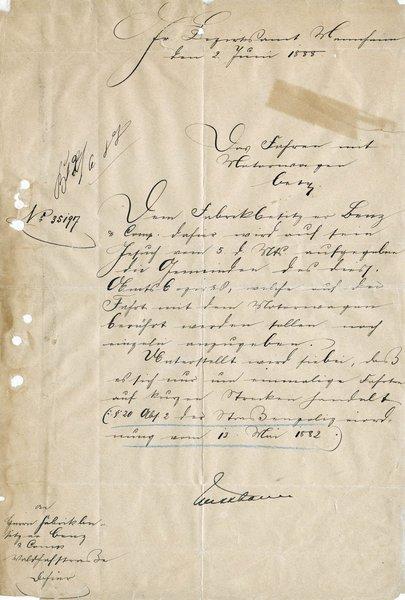 Η εμπρός όψη του εγγράφου που εκδόθηκε στις 2 Ιουνίου 1888 με το οποίο ο Karl Benz έχει την άδεια να κάνει δοκιμές του αυτοκινήτου του στον δρόμο.